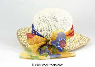 easter bonnet showing the bow - straw hat with a ribbons of...