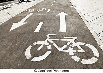 bikeway on urban street in sunny day in Moscow