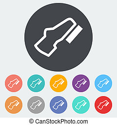 Adjustable pedal. Single flat icon on the circle. Vector...
