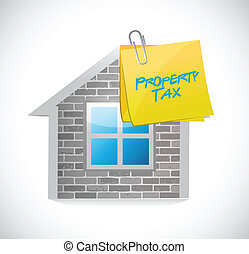 home property tax concept illustration design over a white...