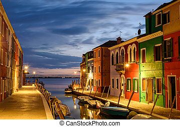 Burano - Colorful houses in Burano at dusk, Venetian...