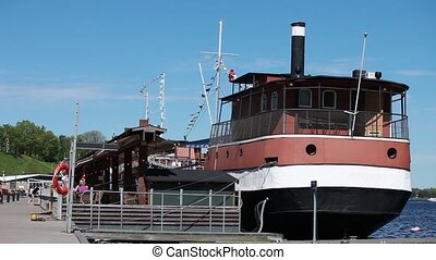 old steamer at the pier - pier Lappeenranta Finland