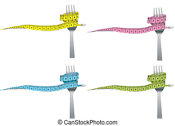 color set of fork and measuring tap