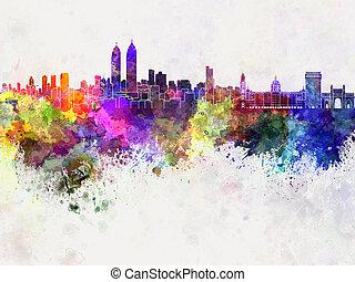 Mumbai skyline in watercolor background