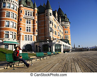 Quebec City - Tourist on Terrasse Dufferin in front of...