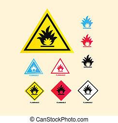 inflamable, advertencia, señal