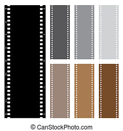 Illustration pack of film strips isolated on white...
