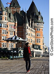 Quebec - Tourist on Terrasse Dufferin in front of Chateau...