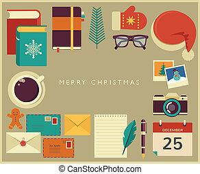 Christmas Santa's desktop flat vector design with elements -...
