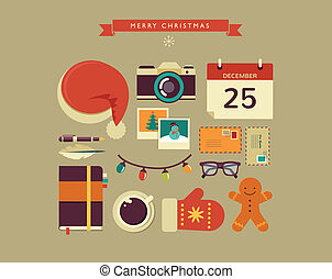 Christmas Santas desktop flat vector design with elements -...