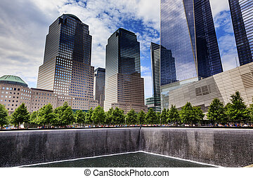 911 Memorial Pool Fountain Waterfall Skyscrapers New York NY...