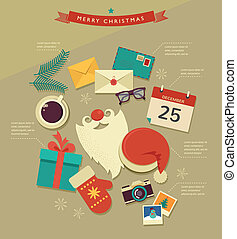 Christmas Santa's desktop flat icons design, vector...