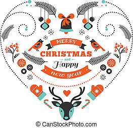 Christmas design heart with birds, elements, ribbons and...
