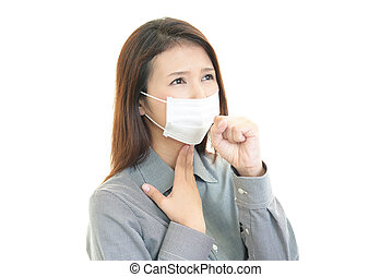 Woman coughing - Woman having cold