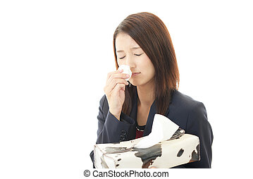Woman having cold - Sneezing woman having cold