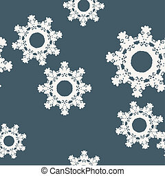 Abstract snowflake seamless pattern