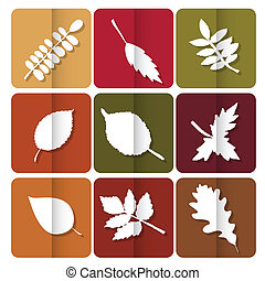Autumn leaves icon. Red, yellow and green leaves of forest...