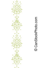Green textile damask flower vertical border seamless pattern...