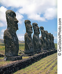 Easter island - Moais of Ahu Akivi inland Ahu on the UNESCO...