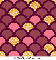 Gold glitter fish scale seamless pattern background - vector...