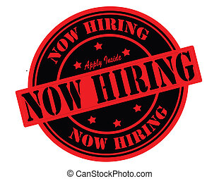 Now hiring - Stamp with text now hiring inside, vector...