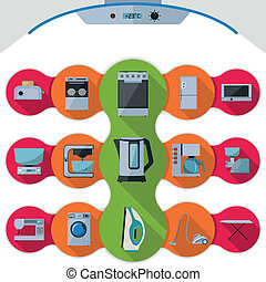 Set of icons of home appliances