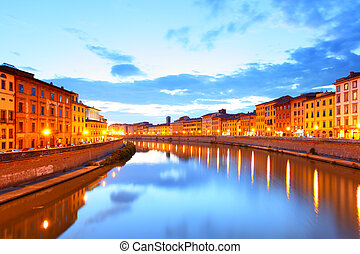 Pisa - View of Pisa and Arno river at sundown, Italy