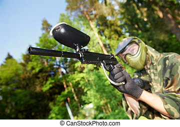 paintball player - paintball sport player man in protective...