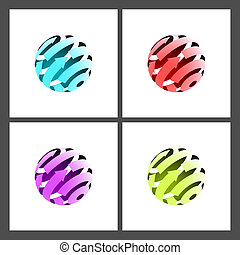 Abstract Globe - Set of Abstract Globe Icons with Arrows on...