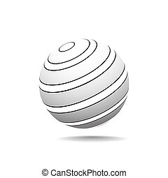 Abstract Globe Icon with Contours on a Light Background