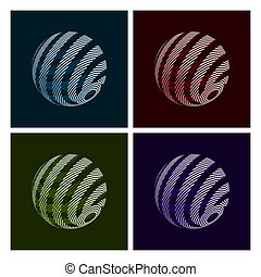 Abstract Globe - Set of Abstract Globe Icons on Dark...