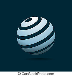Abstract Globe Blue Icon on Dark Background