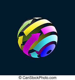 Abstract Globe Icon with Arrows on Dark Background