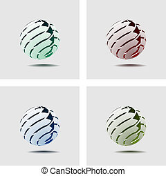 Abstract Globe Icon with Arrows on Light Background