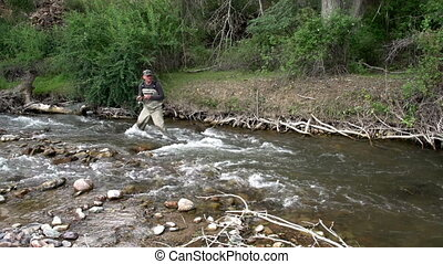 In Search of Trout - Fisherman standing in the water and...