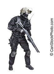 Spec ops soldier with shotgun - Spec ops soldier in black...