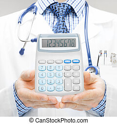 Doctor holdling in his hand calculator - studio shoot - 1 to...
