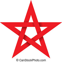 Red Pentagram 3D - Five-pointed geometric star figure that...