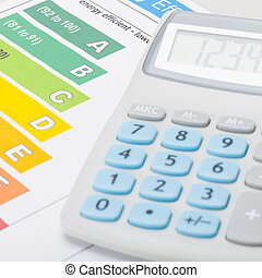 Energy efficiency chart with calculator - 1 to 1 ratio