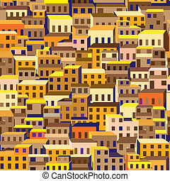 old town - Seamless pattern with stylized citys old quarter,...