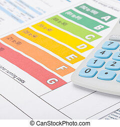 Energy efficiency chart with calculator - studio shot - 1 to...