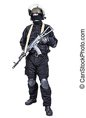 Spec ops soldier in black uniform and face mask with his...