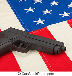 Handgun over USA flag - 1 to 1 ratio