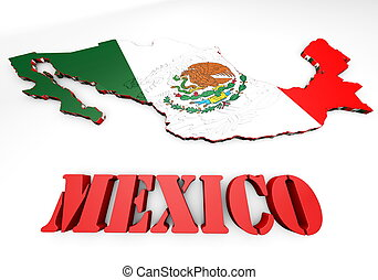 map illustration of Mexico with flag - 3d map illustration...