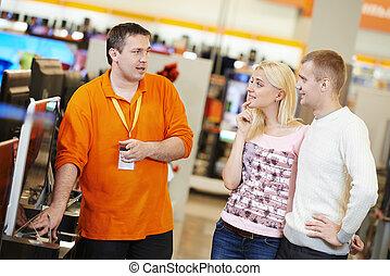 エレクトロニクス, 買い物, 家族, スーパーマーケット