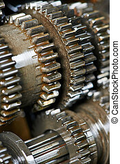 automobile engine or transmission gear box - close-up of...