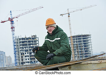 construction worker making reinforcement - builder worker...