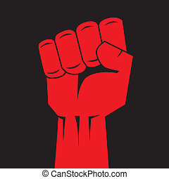 Fist red clenched hand vector. Victory, revolt concept....