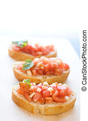 bruschetta on the wooden table