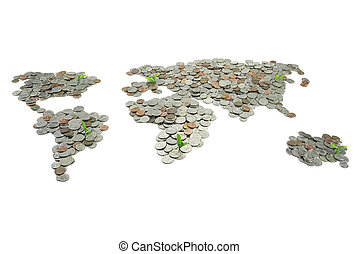 Map made of coins isolated on white background